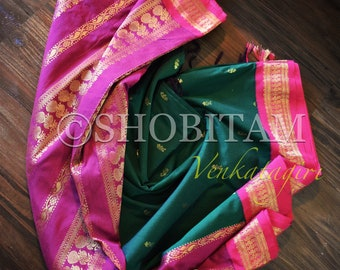 Dark Green with hot pink Venkatagiri Cotton Silk Saree  | Pretty Saree | Shobitam Saree