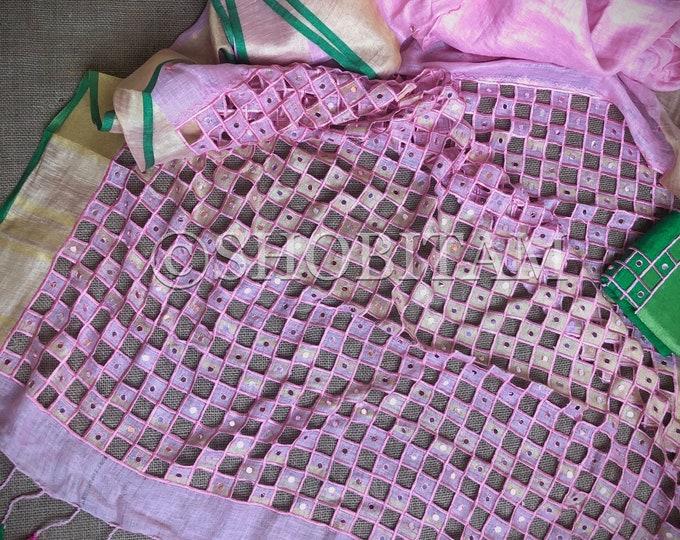 Cutwork Linen Saree in Baby Pink  Linen Saree   Shobitam Saree