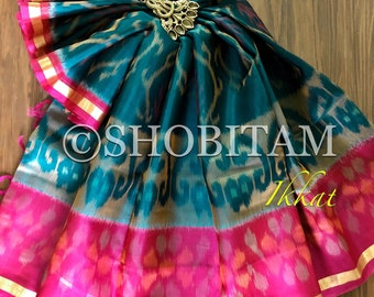 Ikkat Silk Cotton Saree I pochampally saree  | Rama green with Pink Border Woven Saree   | Pretty Sari! | Handmade Saree | Shobitam Saree
