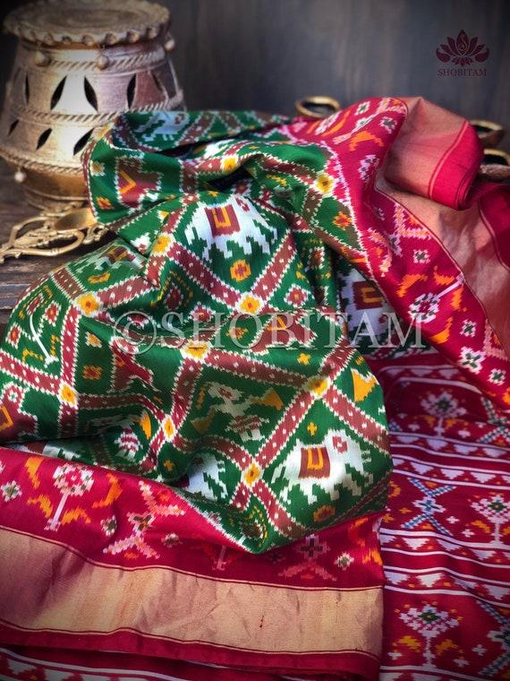 Shobitam Saree Ikkat Patola Design Pochampalli Pure Silk Saree I SILK MARK CERTIFIED