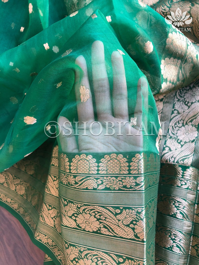Shobitam Saree Green Saree Pretty Saree Chanderi Saree in Cotton Silk with heavy border