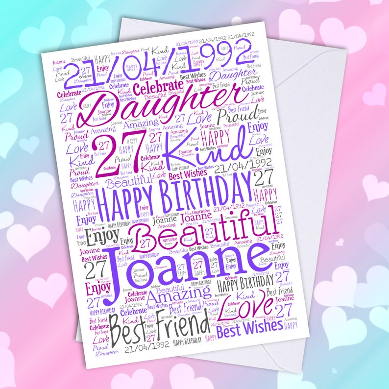 owl personalised A5 birthday card daughter sister niece mum son brother name age