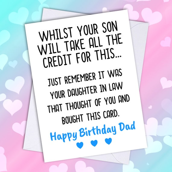 Funny Humour Dad Birthday Card Daughter In Law Son Whilst Etsy