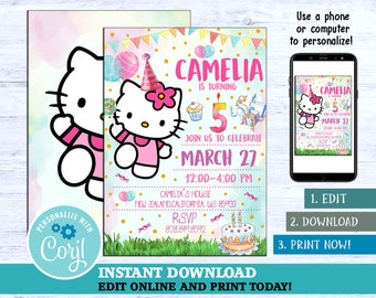 aecefc82f Hello Kitty Birthday Party Invitation, DIGITAL FILE, Personalized, Hello  Kitty Party Printable, Girls Birthday Invite, 1st Birthday