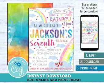 Rainbow Invitation Birthday Party Girl Digital Invite Invites Baby