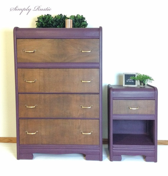 Vintage Dresser Set - Tall Dresser, Bedroom Furniture, Nightstand, Violet,  Painted Furniture, Farmhouse Style, Stained Wood, Gold Hardware