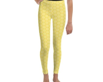 ed12b00495ddcc Honeycomb Print Kids Leggings | Yoga Leggings for Children | Kids Yoga Pants