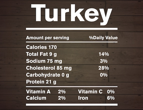 Turkey Nutrition Facts Funny Food Thanksgiving Day Svg Png Etsy