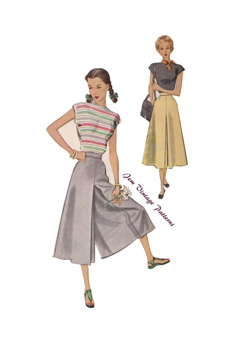 Vintage Western Wear Clothing, Outfit Ideas     1940s culottes - vintage sewing pattern - 40s - pdf - split skirt $12.23 AT vintagedancer.com