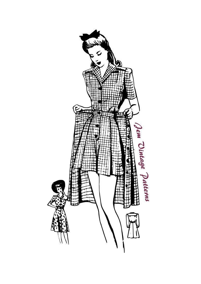 40s-50s Vintage Playsuits, Jumpsuits, Rompers History 1940s beachwear set - vintage sewing pattern - 40s - pdf digital download - playsuit - summer $15.65 AT vintagedancer.com