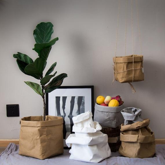 Washable Kraft Paper Receiving Bag Nordic Fashion Plant Flower | Etsy