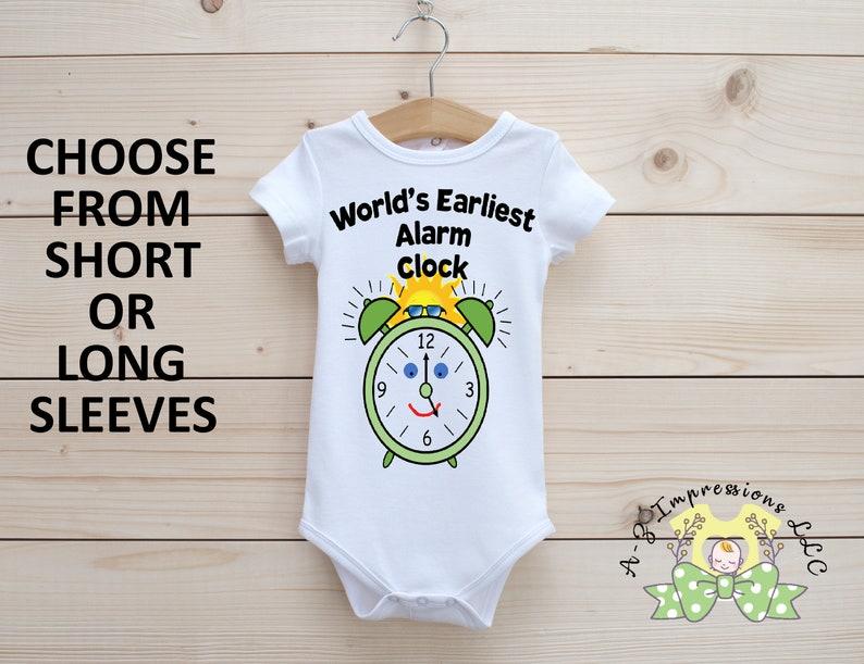 Cute Baby onesie\u00ae World/'s Earliest Alarm Clock Onesie\u00ae Celebration Onesie\u00ae Onesie\u00ae First Onesie\u00ae Baby Bodysuit Reveal Onesie\u00ae