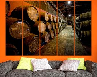 Wine cellar canvas Cognac decor Wine cellar art Wine barrel print Barrels art Winery canvas Gift to the banker decor Restaurant wall art