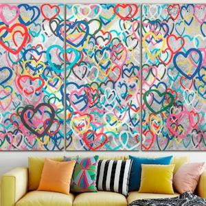 Heart of love canvas Love symbol decor Landscape art Lovers gift print Valentines heart art Watercolor art Romantic canvas Gift