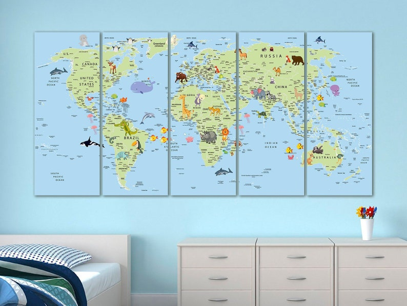 Kids world map canvas Animal world map decor Nursery world map art on map lamp shade, map room divider, map travel, map venezuela flag, map in india, map in europe, map with states, map facebook covers, map cornwall uk, map tools, map recipe, map cross stitch, map of montana, map with mountains, map se usa, map color, map games, map design, map with title, map example,