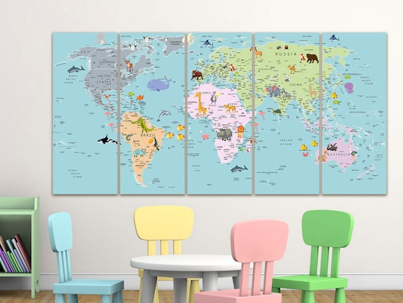 Kids world map canvas Dinosaur world map decor Nursery world map art Atlas print Continent art Travel canvas World map decor Large world map