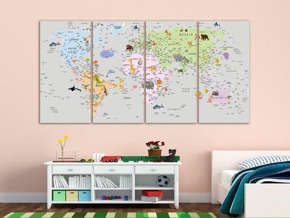 Kids world map canvas Play room world map art Nursery world map art Atlas print Continent art Travel canvas World map decor Large world map