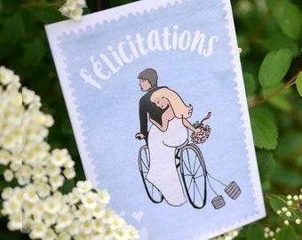 Congratulations wedding bike (double card)