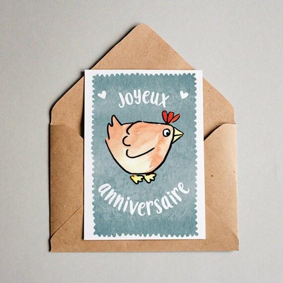 Carte Joyeux Anniversaire Poule