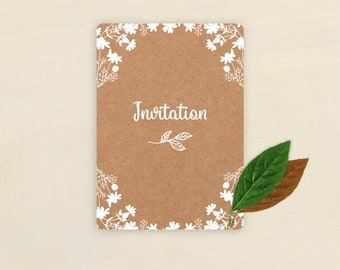 Invitation country kraft and white flowers
