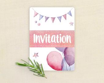 Pink birthday invitation