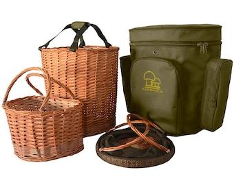 Backpack for mushroom picking, Foraging basket, rucksack. Mushroom hunting wicker basket. Sac dos cueillette. Paniere per funghi. Pilzkorb