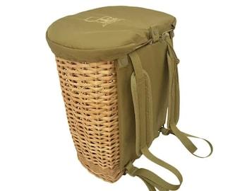 Foraging basket rucksack, backpack for mushroom picking, hunting. Wicker basket. Sac dos cueillette. Paniere per funghi. Pilzkorb. Pilzsuche