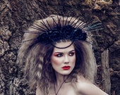 Black flower crown mardi gras headpiece Spike crown Gothic wedding crown goddess headpiece