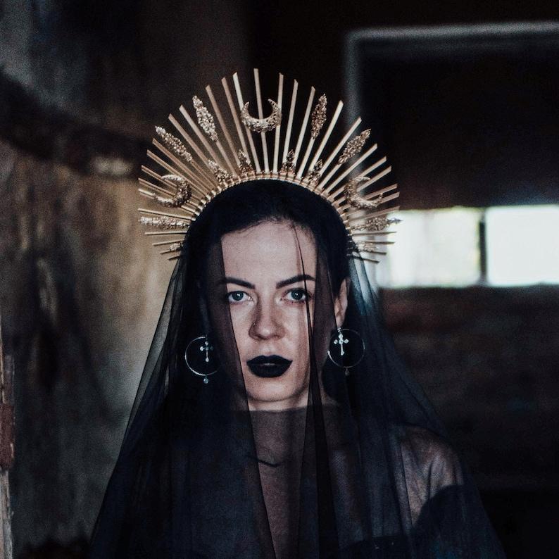 Star Goth crystal crown\u00a0halloween cosplay costume gothic wedding Gold Silver halo crown Sunburst Gothic headpiece Burning man  headdress