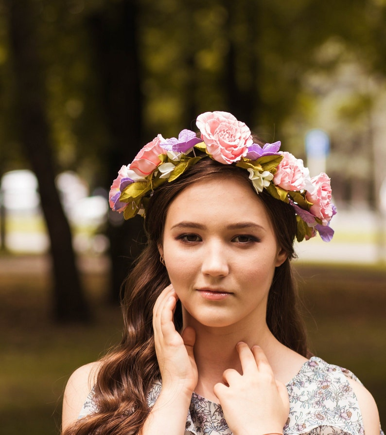 Woodland fairy crown Flower crown adult Dusty rose headband Butterfly hair accessory Maternity headband Kid flower crown Blush rose crown