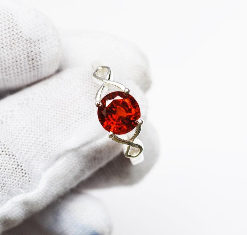 Antique Sterling Silver Handmade Hessonite Garnet Gemstone Certified Engagement RingSilver Jewelry For Men/&Women