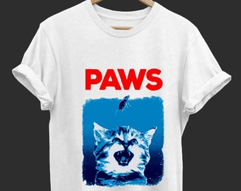 720e962d38fada Paws - Jaws Movies Parody - Funny T Shirt - Funny Shirt - Tops and Tees -  Unisex Adult Clothing - Hypebeast - Streetwear