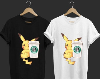 adb46d757 Pikachu With Starbucks - Funny T Shirt - Funny Cat T Shirt - Tops and Tees  - Unisex Adult Clothing - Hypebeast - Streetwear