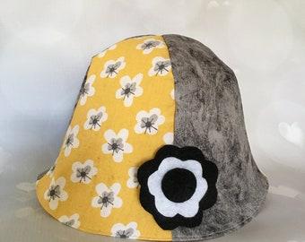 2d91ff54ed8 Hats babies children. Bucket hat. Felt flower. Hand made. Floral cotton.