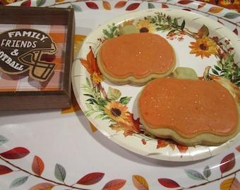 Pumpkin Shaped Sugar Cookie, Gluten Free, Vegan, Egg Free, Dairy free, Nut free, School Safe, Party favor, Halloween, Trick or Treat, Fall