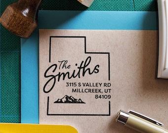Personalized, Custom, Housewarming Gift, Realtor Closing Gift, State Pride Utah w Delicate Arch Return Address Stamp