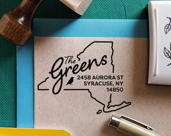 housewarming Custom New York State Return Address Stamp Custom address stamp with modern brush font weddings perfect gift for holidays