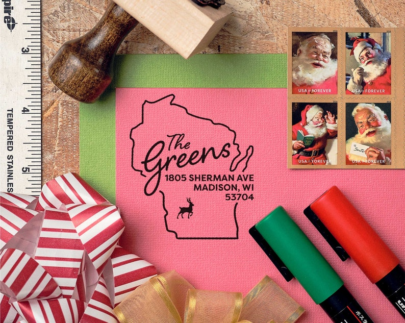 Fast Turnaround + Ship, Icon: Christmas Tree, Reindeer, Mistletoe, Bell, or Peace Dove Wisconsin Christmas Holiday Return Address Stamp