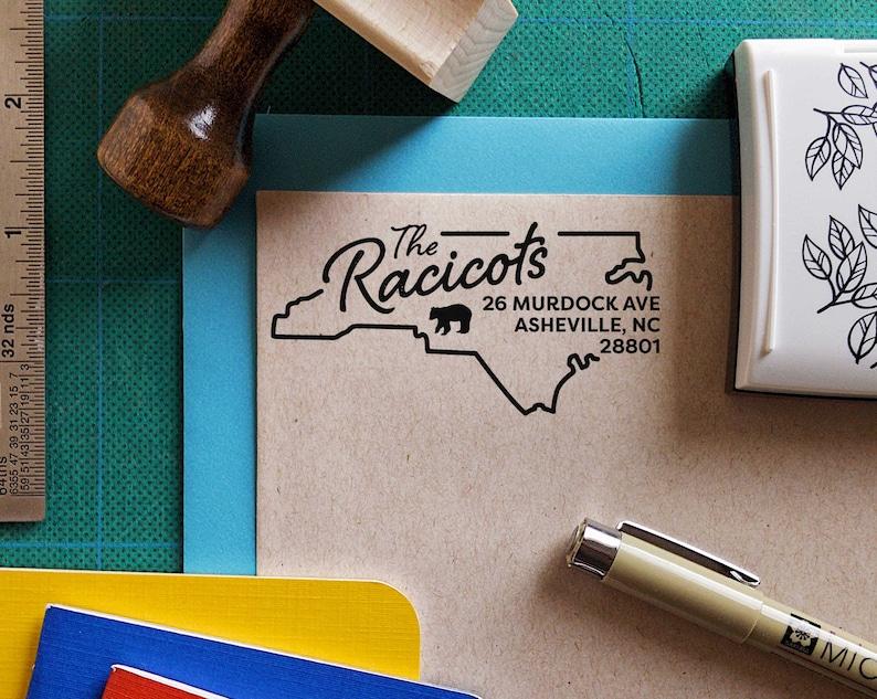 North Carolina w Black Bear Return Address Stamp Personalized, Custom, Housewarming Gift, Realtor Closing Gift, State Pride