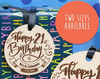 21st birthday wooden gift tags
