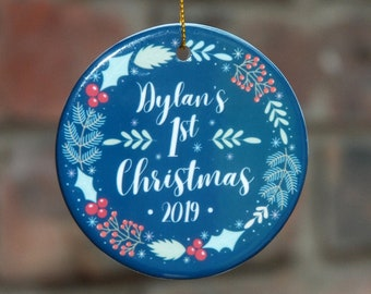 Baby's first Christmas ornament personalized.