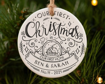 New home Christmas ornament   First Christmas in new home ornament   Our first home ornament   Personalised christmas tree decoration