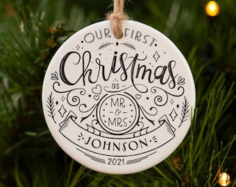 Our first Christmas as Mr and Mrs ceramic ornament