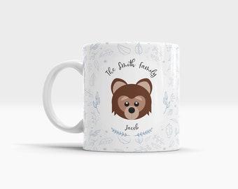 Personalized Kids Small Ceramic Mug. Small Teddy Bear Mug. Childrens Mugs
