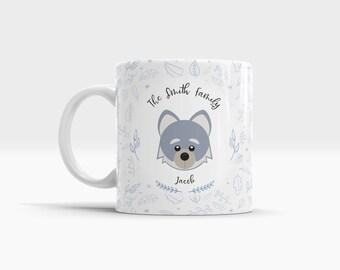Wolf mug. Childrens Mugs. Wolf gifts. Cute wolf. Personalized mug. Small Ceramic Mug. Childs Cup