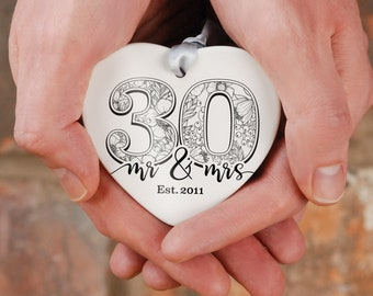 Large number ceramic heart anniversary gift