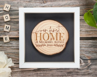 Our first home - personalised wood address plaque.
