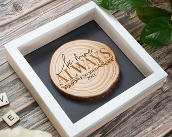 Engagement gift box. Rustic wood slice. Unique wedding gift for couple. Personalized wedding ornament. Bride to be gift box.