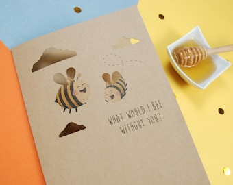 Bumble Bee Fathers Day card, Kraft A5 Card