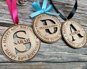 Birthday Tags Personalized, Gift Tags Wooden, 50th Birthday Decorations, Adult Birthday Party Supplies, Wine Bottle Tags, Wooden Name Tags